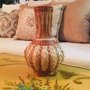 Other - Vintage Basket Weave Wicker Vase
